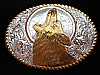 PI07150 VINTAGE 1970s **HOWLING WOLF** ENGRAVED CRUMRINE WESTERN & COWBOY BUCKLE
