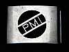 PJ07126 VINTAGE 1970s **PMI** UNKNOWN COMPANY LOGO SILVERTONE BELT BUCKLE