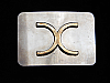 PJ09169 VINTAGE 1970s **UNKNOWN COMPANY LOGO** SILVERTONE BELT BUCKLE