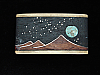 PL19164 VINTAGE 1970s KENNETH REID *MOON OVER MOUNTAIN* WOOD & TURQUOISE BUCKLE