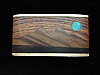 PL19170 VINTAGE 1970s KENNETH REID *MOON OVER MOUNTAIN* WOOD & TURQUOISE BUCKLE