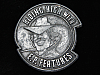 QC13155 VINTAGE 1970s **RIDING HIGH WITH E.P. FEATURES** PEWTER BELT BUCKLE