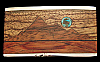 QE12191 VINTAGE 1970s KENNETH REID *MOON OVER MOUNTAIN* WOOD & TURQUOISE BUCKLE