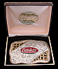 QG14134 1980s CRUMRINE **PETERBILT** TRUCK SILVER PLATED w/ RUBIES TROPHY BUCKLE