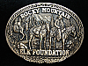 QI11152 *NOS* VINTAGE 1980s **ROCKY MOUNTAIN ELK FOUNDATION** SOLID BRASS BUCKLE
