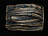 QI11157 VINTAGE 1970s HAND CARVED **ABSTRACT ART** SOLID BRASS BELT BUCKLE