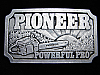 QK03111 VINTAGE 1970s **PIONEER POWERFUL PRO** CHAINSAW & TOOLS BELT BUCKLE