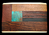 QK28151 GREAT 1970s KENNETH REID **ABSTRACT WOODEN INLAID ARTWORK** BELT BUCKLE