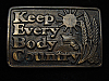 QL23127 VINTAGE 1970s *KEBC KEEP EVERY BODY COUNTRY* MUSIC RADIO STATION BUCKLE