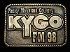 QL23128 VINTAGE 1978 *KYGO FM98 COUNTRY* MUSIC RADIO STATION SOLID BRASS BUCKLE