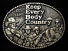 QL23170 *NOS* VINTAGE 1980s **KEEP EVERY BODY COUNTRY** RADIO SOLID BRASS BUCKLE
