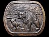 IH07102 VINTAGE 1976 **BEAR AND CUB CATCHING FISH*** BRASS PLATED BUCKLE