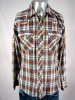VINTAGE 1970s BROWN/WHITE/BLUE PLAID PEARLSNAP SHIRT 38