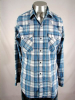 1980s DEE CEE BLUE/WHITE PLAID SAWTOOTH PEARLSNAP - 45