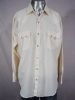 VINTAGE 1980s CREAM STRIPED SAWTOOTH PEARLSNAP SHIRT 52