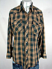 VINTAGE 1970s GREEN/BROWN/RED PLAID PEARLSNAP SHIRT 44