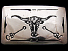 VINTAGE 1970s **LONGHORN / RANCH BRANDS** NICKEL BUCKLE