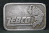 HE17112 VINTAGE 1980s ***ZEBCO*** FISHING BIG BASS PEWTER BUCKLE