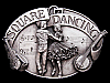 FANTASTIC VINTAGE 1985 **SQUARE DANCING** PEWTER BUCKLE