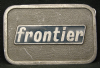 HE01112 VINTAGE 1970s ***FRONTIER*** COMPANY LOGO PEWTER BUCKLE