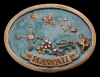 II20169 GREAT 1977 VINTAGE **HAWAII** SOUVENIR MAP BRASSTONE BELT BUCKLE
