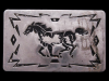 HL21101 VINTAGE 1970s SOUTHWESTERN STYLE ***RUNNING HORSE*** SILVERTONE BUCKLE