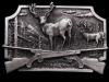 HL21122 GREAT VINTAGE 1982 ***CROSSED RIFLES & BUCK DEER*** PEWTER BUCKLE