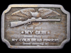 II15136 VINTAGE 1977 ***I WILL GIVE UP MY GUN WHEN...*** BRASS BELT BUCKLE
