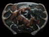 ID19108 VINTAGE 1977 ***DEER RUNNING THROUGH FOREST*** LACQUERED BUCKLE