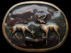GREAT VINTAGE 1977 DEER IN MOUNTAIN VALLEY BRASS BUCKLE