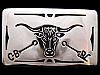 II17105 VINTAGE 1970s ***LONGHORN STEER & RANCH BRANDS*** POLISHED NICKEL BUCKLE
