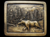COOL VINTAGE 1976 **MOOSE CROSSING RIVER** BRASS BUCKLE