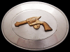 JB09104 VINTAGE 1970s CHAMBERS **SIX SHOOTER** PISTOL NICKEL SILVER BELT BUCKLE