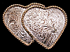 JB14176 VINTAGE 1980s ENGRAVED **TWIN HEARTS** SILVER PLATED WESTERN BUCKLE