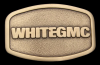 II02113 VINTAGE 1980s **WHITE-GMC TRUCKS** LOGO BRASS PLATED BUCKLE