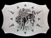 II27120 VINTAGE 1970s ***BUCKING BRONCO*** RODEO COWBOY POLISHED NICKEL BUCKLE