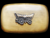 IJ01121 VINTAGE 1970s CHAMBERS **OLD WEST COVERED WAGON** BRUSH FINISHED BUCKLE