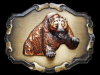 SWEET VINTAGE 1970s GROWLING GRIZZLY BEAR BRASS BUCKLE