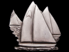 IJ31146 VERY COOL VINTAGE 1970s CUT-OUT **SAILBOATS** PEWTER BELT BUCKLE