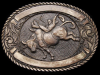 IL29117 VINTAGE 1980s AWARD DESIGN **BULL RIDER** SOLID BRASS RODEO BELT BUCKLE