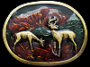 GREAT VINTAGE 1970s DEER IN MOUNTAIN VALLEY BELT BUCKLE