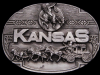 AWESOME VINTAGE 1980 KANSAS SOUVENIR PEWTER BELT BUCKLE