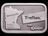 JE25156 VINTAGE 1970s *TREFLAN FROM ELANCO* MINNESOTA PEWTER BELT BUCKLE