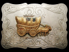 JE29109 VINTAGE 1970s CHAMBERS **COVERED WAGON** VICKEL SILVER WESTERN BUCKLE