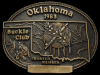 JE29160 VINTAGE 1983 **OKLAHOMA BUCKLE CLUB** CHARTER MEMBER SOLID BRASS BUCKLE