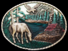 JE29171 VINTAGE 1985 IMC **LAKE CABIN W/ HORSE & EAGLE** LACQUER INLAID BUCKLE