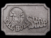 JF07151 VINTAGE 1970s ****THE BULL SHOP**** PEWTER BELT BUCKLE