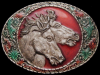 JF15137 GREAT VINTAGE 1981 IMC **TWO WILD HORSES** LACQUERED PEWTER BELT BUCKLE