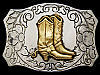 JH27108 VINTAGE 1960s CHAMBERS **COWBOY BOOTS** NICKEL SILVER WESTERN BUCKLE