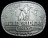 JK06110 COOL 1980s **BULL RIDERS ONLY** WESTERN STYLE SILVERTONE BELT BUCKLE